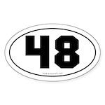 #48 Euro Bumper Oval Sticker -White