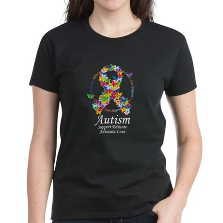 Autism Butterfly Ribbon Women's Dark T-Shirt