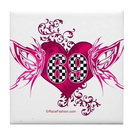 Racing Number 69 Tile Coaster By Racefashion