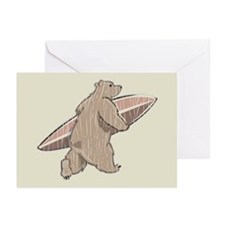 Surfing Brown Bear Greeting Cards (Pk of 10)