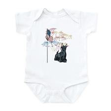 USA Flag Scottie Infant Bodysuit