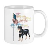 USA Flag Rottweiler Small Mug