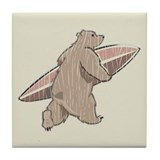 Surfing Brown Bear Tile Coaster