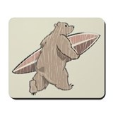 Surfing Brown Bear Mousepad