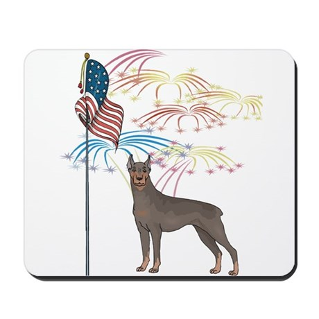 USA Flag Doberman Mousepad
