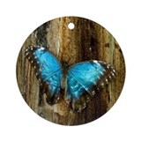 Blue Morpho Butterfly Round Ornament