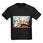 Seattle Washington Greetings Kids Dark T-Shirt