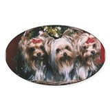 Yorkie Christmas Oval Decal