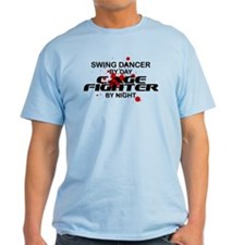 Swing Dancer Cage Fighter by Night T-Shirt
