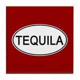 Tequila Euro Oval red Tile Coaster