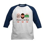 Peace Love Run Runner Kids Baseball Jersey