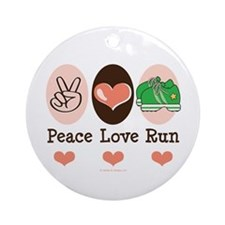 Peace Love Run Runner Ornament (Round)