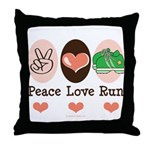 Peace Love Run Runner Throw Pillow