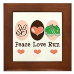 Peace Love Run Runner Framed Tile