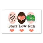 Peace Love Run Runner Rectangle Sticker 50 pk)