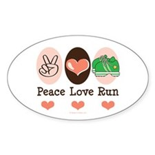 Peace Love Run Runner Oval Sticker (10 pk)