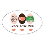 Peace Love Run Runner Oval Sticker (50 pk)