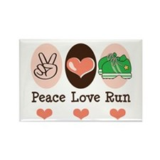Peace Love Run Runner Rectangle Magnet