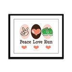 Peace Love Run Runner Framed Panel Print