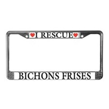 Bichon Frise Rescue License Plate Frame