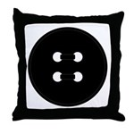 Black Button Throw Pillow