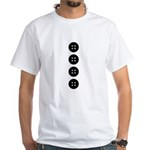 Black Buttons White T-Shirt
