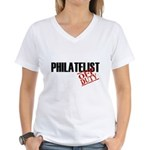 Off Duty Philatelist Women's V-Neck T-Shirt