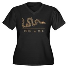 Join or Die Women's Plus Size V-Neck Dark T-Shirt