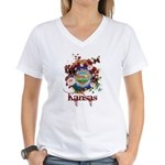 Butterfly Kansas Women's V-Neck T-Shirt