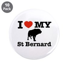 "I love my St Bernard 3.5"" Button (10 pack)"