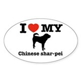 I love my Chinese Shar-pei Oval Decal