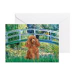 Lily Pond Bridge/Poodle (apri Greeting Cards (Pk o