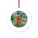 Lily Pond Bridge/Poodle (apri Ornament (Round)