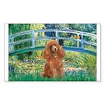 Lily Pond Bridge/Poodle (apri Sticker (Rectangle)
