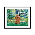 Lily Pond Bridge/Poodle (apri Framed Panel Print