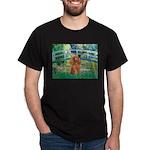 Lily Pond Bridge/Poodle (apri Dark T-Shirt