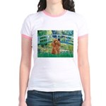 Lily Pond Bridge/Poodle (apri Jr. Ringer T-Shirt