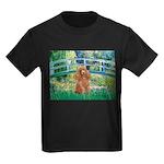 Lily Pond Bridge/Poodle (apri Kids Dark T-Shirt