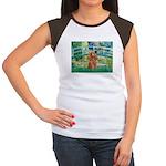 Lily Pond Bridge/Poodle (apri Women's Cap Sleeve T