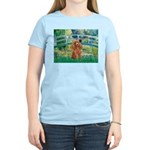 Lily Pond Bridge/Poodle (apri Women's Light T-Shir