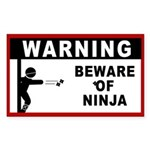 Beware of Ninja Rectangle Sticker 10 pk)