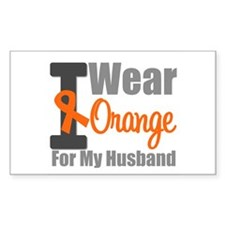 I Wear Orange (Husband) Rectangle Sticker 10 pk)