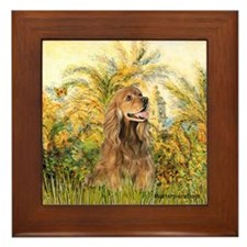 Palms/Cocker Spaniel (brown) Framed Tile