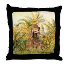 Palms/Cocker Spaniel (brown) Throw Pillow