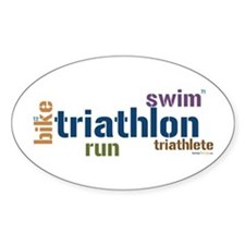 Triathlon Text - Blue Oval Decal
