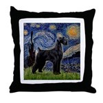 Starry Night / Schnauzer Throw Pillow