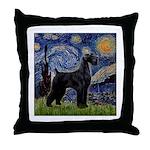 Starry Night / Schnauzer Throw Pillow