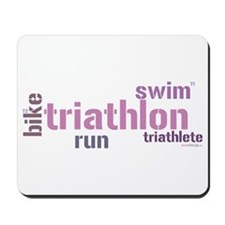 Triathlon Text - Pink Mousepad