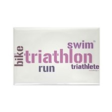 Triathlon Text - Pink Rectangle Magnet