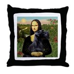 Mona Lisa /giant black Schnau Throw Pillow